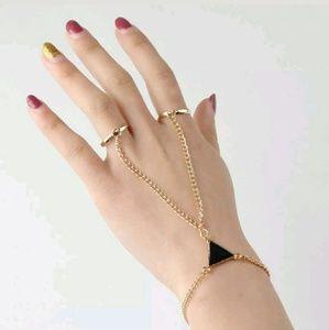Jewelry - Gold Black Triangle 2 Finger Ring Harem Bracelet